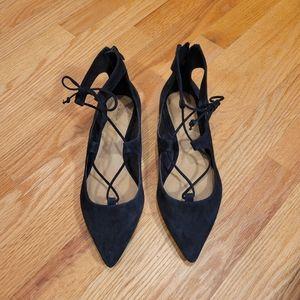 NWOB Tahari Estyn Suede Lace-Up Ballet Flats